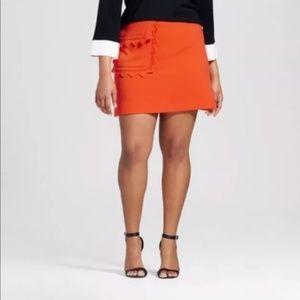 NWT Orange Victoria Beckham Scallop Mini Skirt